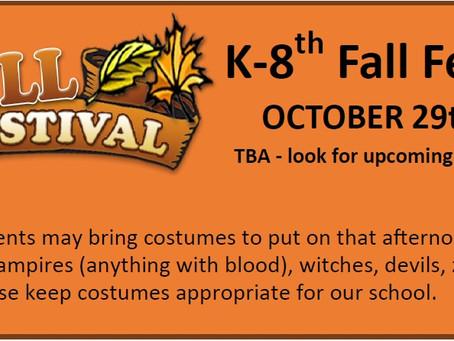 K-8th Fall Fest Information
