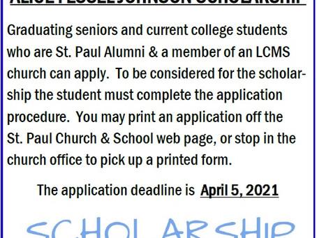 2020 Alice Fessel Johnson Scholarship
