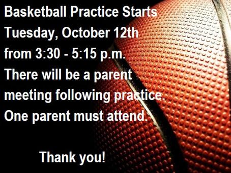 5-8th Grade Basketball Starts Oct. 12th!