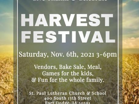 Harvest Festival - November 6th