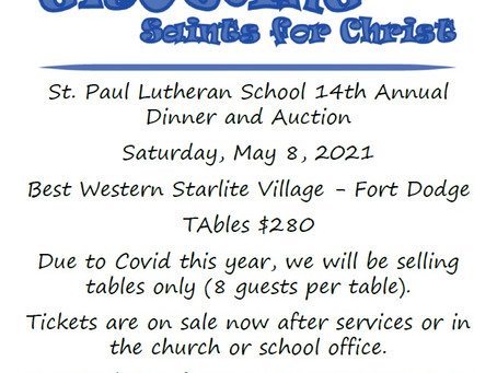 Growing Saints for Christ 14th Annual Auction - May 8th