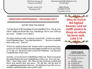 """December 2017 """"Hanover Happenings"""" Newsletter"""