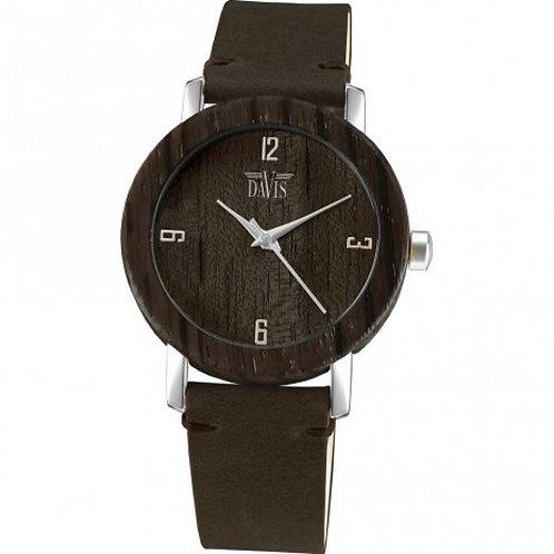 Davis wood horloge donkerbruin