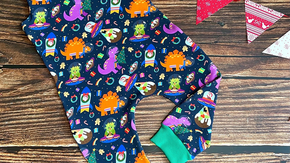 Christmas Bonkers Space Dinos Dungarees