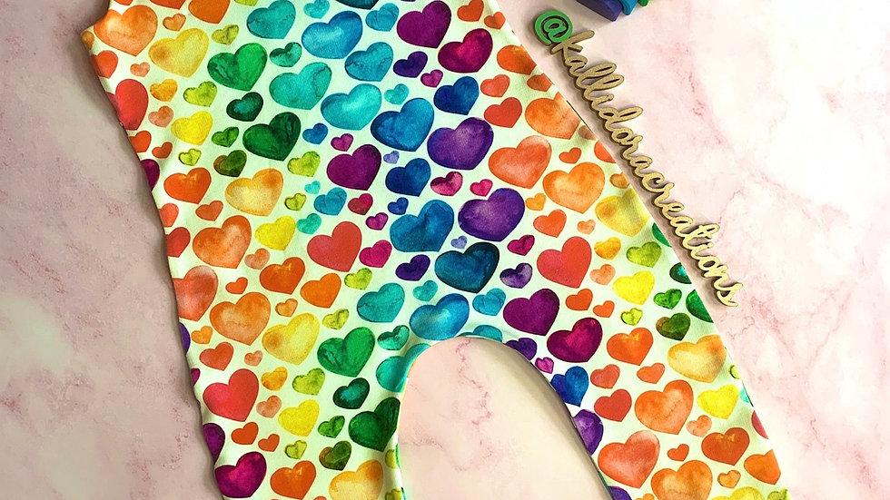 Rainbow Hearts Dungarees