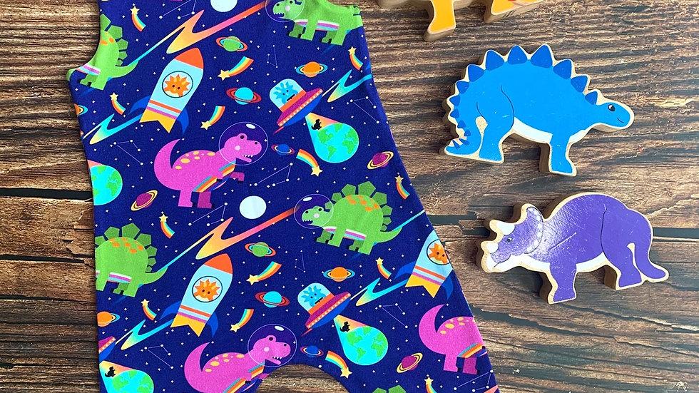 Bonkers Space Dinos Dungarees (slightly lighter blue version)