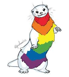 Rainbow Pride Flag Otter