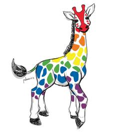 Rainbow Pride Flag Giraffe