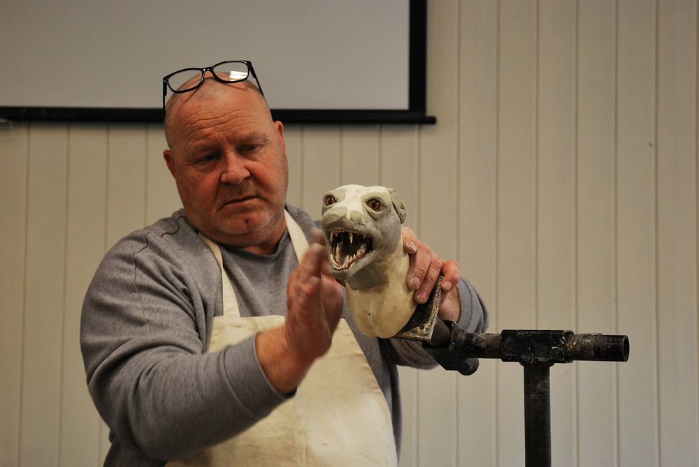 Figure 3 Steven Heyes demonstrating how to mount and open mouth fox
