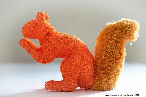Neon Orange Faux Taxidermy Squirrel