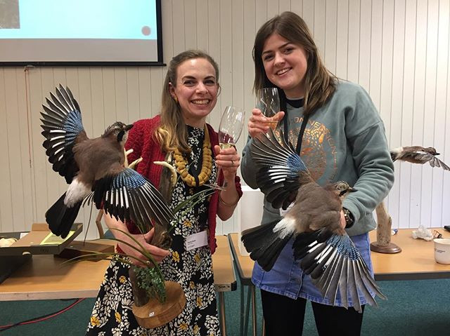 Left to right Sarah Keen and Becky Dick with their Jays for the aviary challenge.