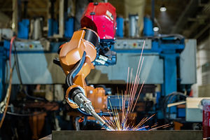 Robot welding is welding assembly automo