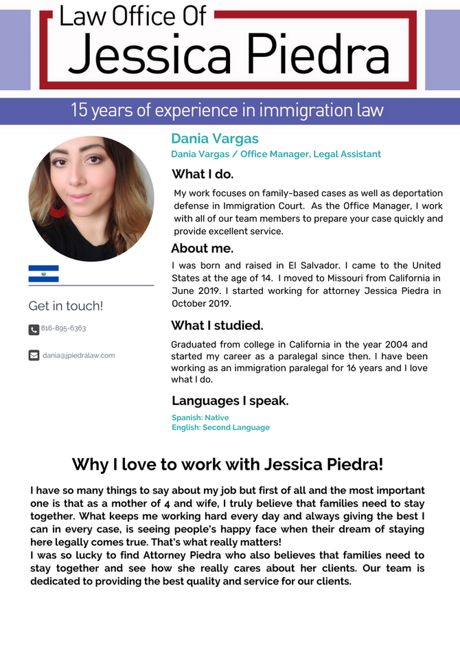 Staff: Dania Vargas, Office Manager, Legal Assistant