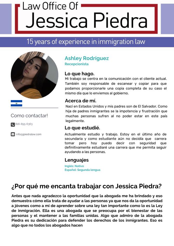 Equipo: Ashley Rodríguez, Recepcionista