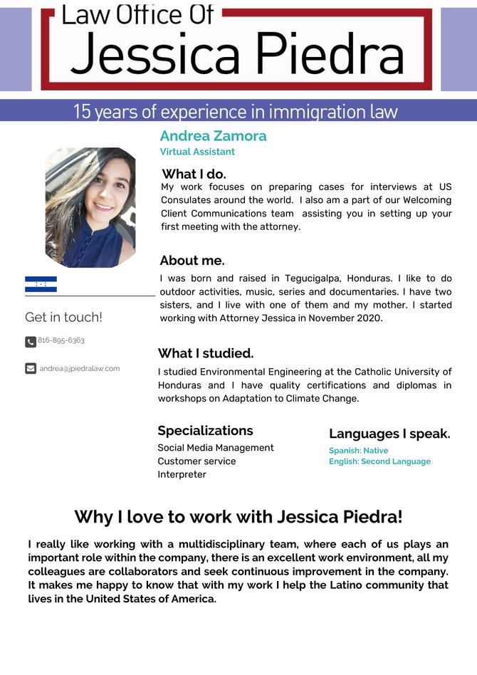 Staff: Andrea Zamora, Virtual Assistant