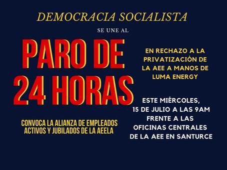 Democracia Socialista se opone a privatización de la Autoridad de Energía Eléctrica