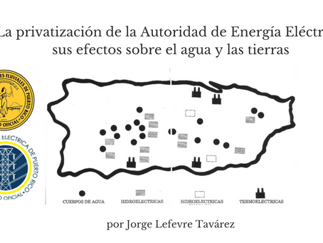 La privatización de la Autoridad de Energía Eléctrica: sus efectos sobre nuestras aguas y tierras