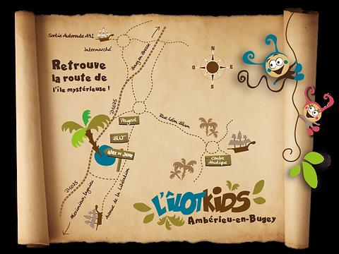 Plan d'accès - L'ÎLOT KIDS -Aire de jeux  couverte à Ambérieu-en-Bugey
