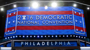 A view of the main stage for the Democratic National Convention at the Wells Fargo Center in Philadelphia, Pennsylvania. (Photo by Drew Angerer/Getty Images)