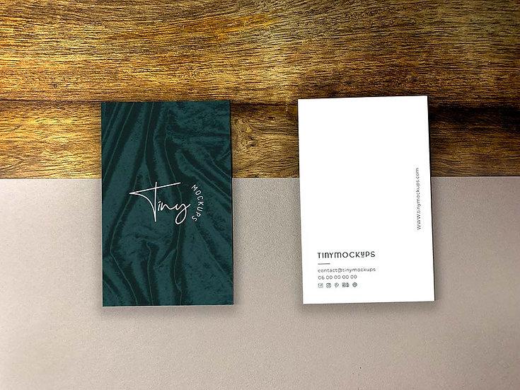 Mockup Double cartes de visite bois
