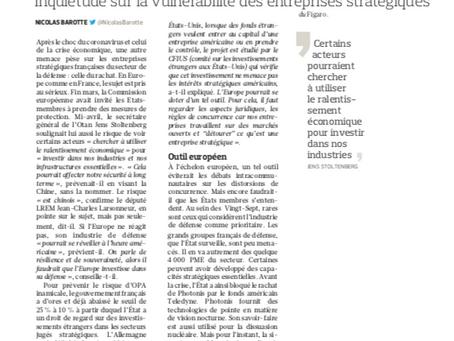 Souveraineté, entreprises stratégiques : vigilance et anticipation