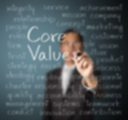 business man writing concept of core val