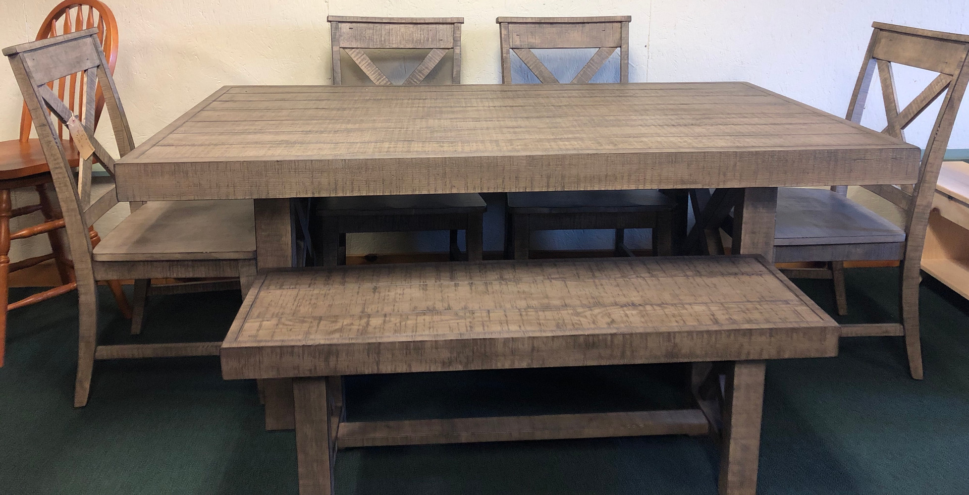 Rustic Oak Table with 4 Chairs/Bench