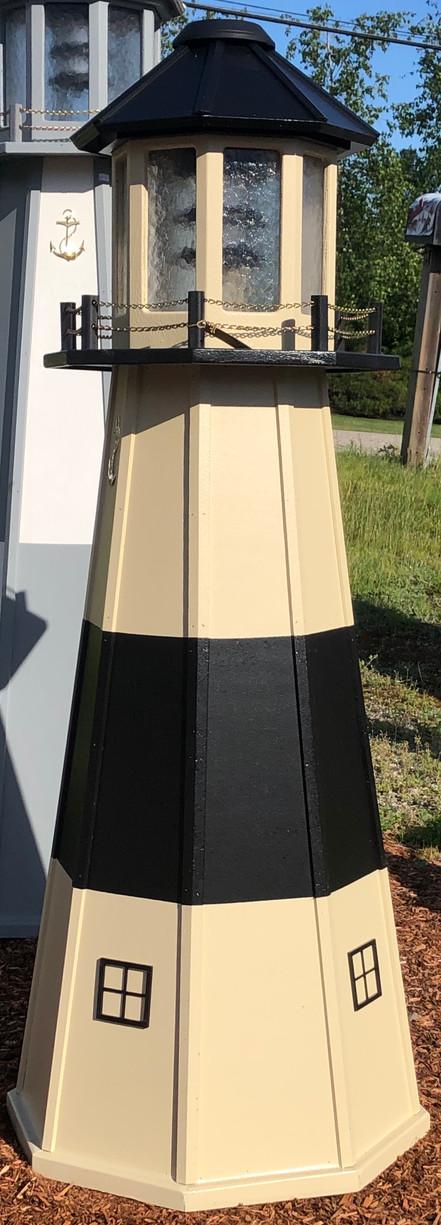 5' Wooden Solar Lighthouse