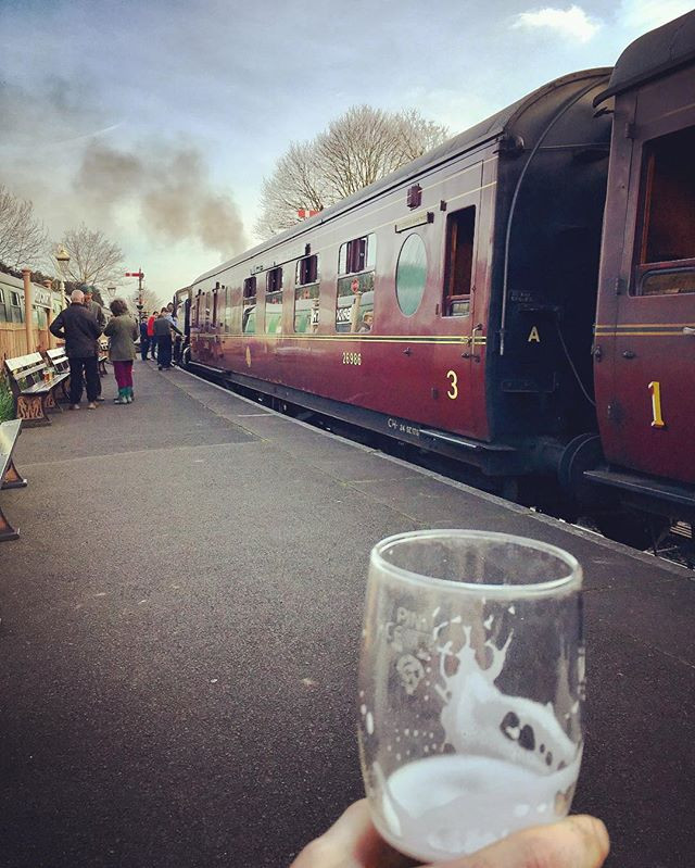 Enjoying a Beer at the Station!