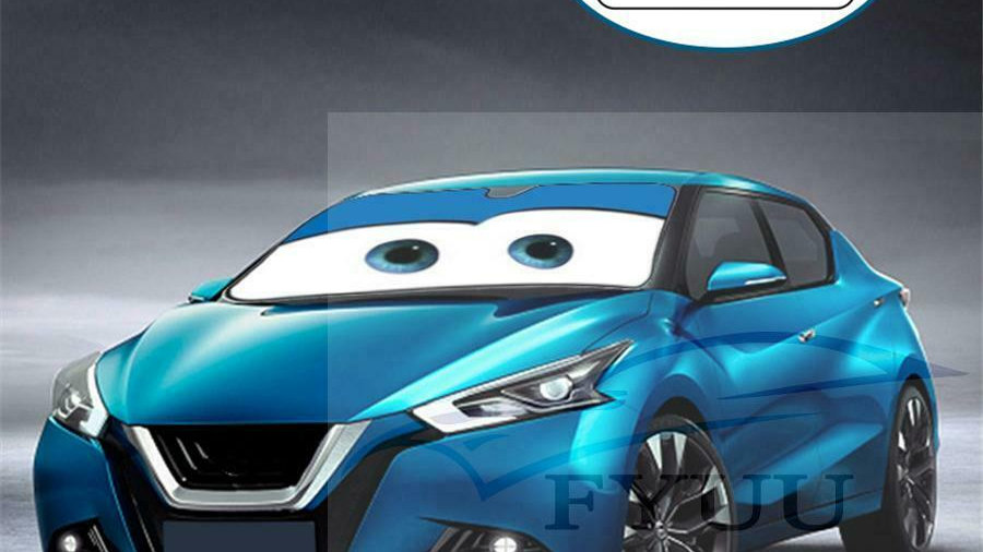 Blue Cartoon Style Window Windscreen Sun Shade Sun Visor Car-cover Suction Cups