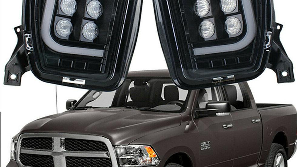 2X White Led Fog Driving Light Assemblies for Dodge RAM 1500 2500 3500 2013-2018