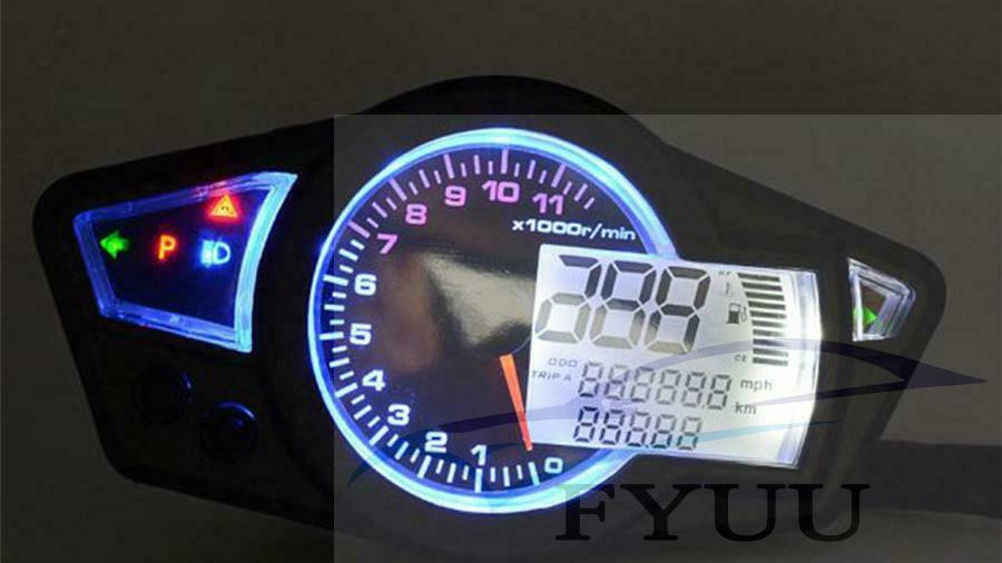 For 2&4 Cylinders Motorcycle LCD Speedometer 1100r Digital Odometer Tachometer