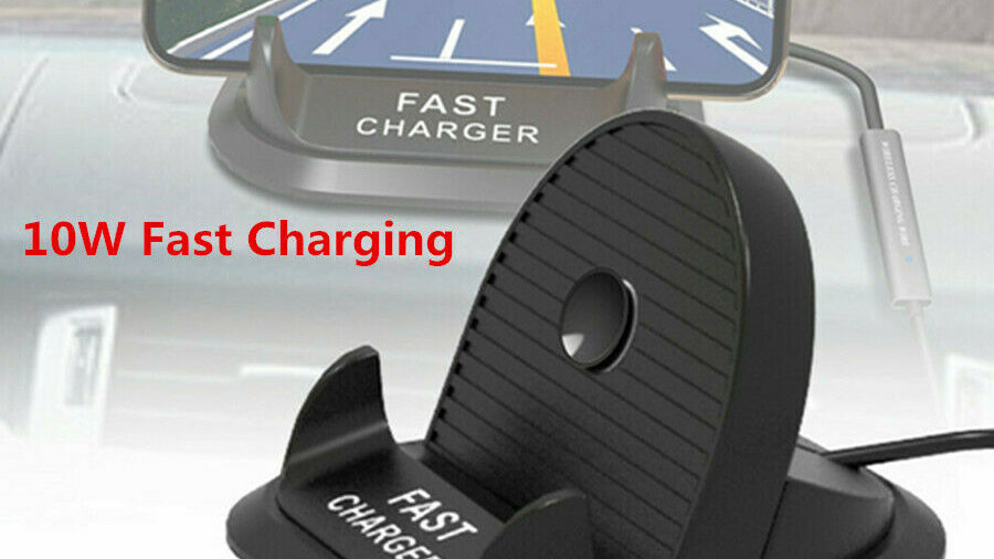 Car Mount Dashboard CellPhone Holder Stand Qi Wireless Charger 10W Fast Charging