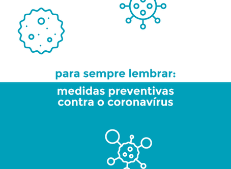 Medidas para prevenir o contágio pelo novo coronavírus
