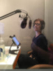 "Jennifer Riker at the studio recording ""The Dinner Party"" audiobook for Audible"