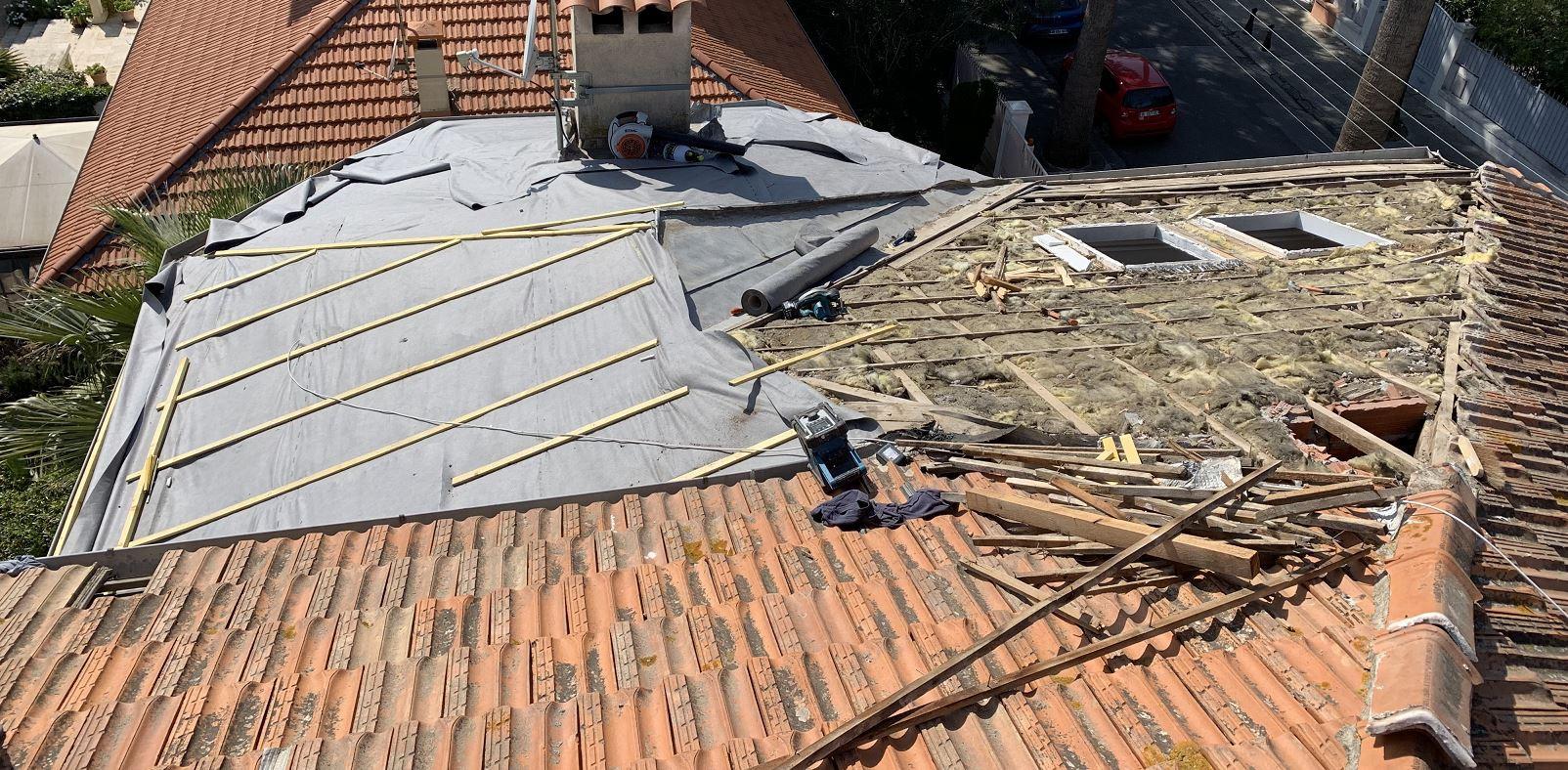 Réfection de l'ancienne toiture en tuile