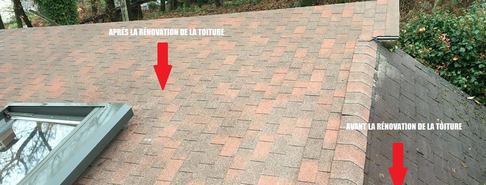 Rénovation toiture shingle avant - après