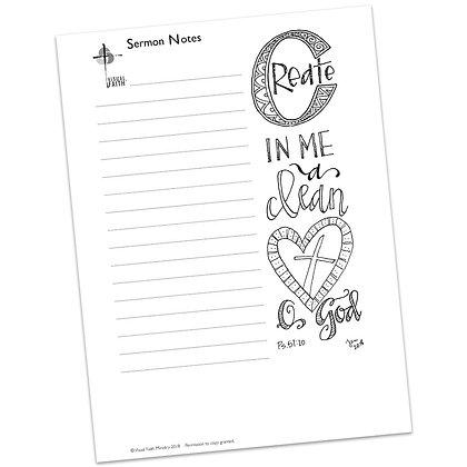Sermon Notes HS - Psalm 51:10