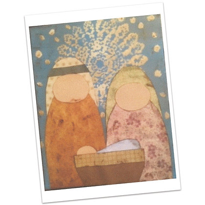 Mary, Joseph, & Baby Jesus Scrap Paper Painting by Bonnie Hughes