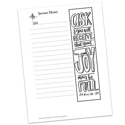 Sermon Notes HS - John 16:24