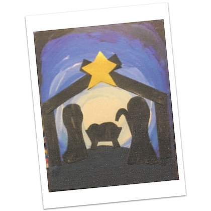 Nativity Silhouette Painting by Bonnie Hughes