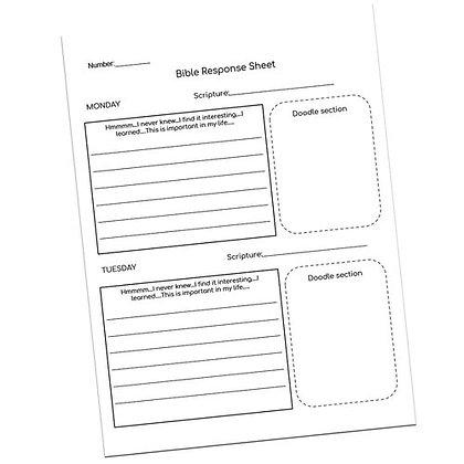 Bible Response Sheet by Jill Kopper