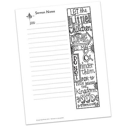 Sermon Notes HS - Mark 10:14
