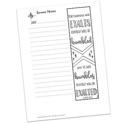 Sermon Notes HS - Luke 14:11