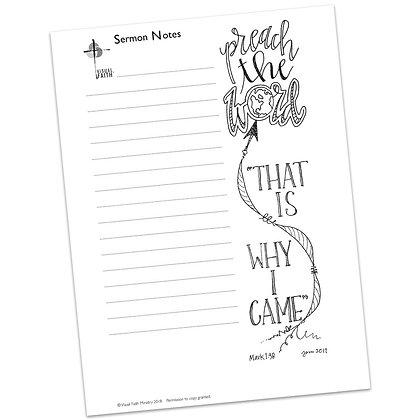 Sermon Notes HS - Mark 1:38