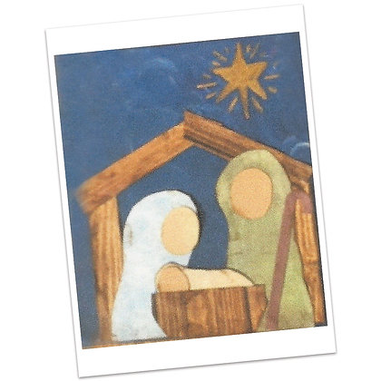 Scrap Paper Nativity on Canvas Painting by Bonnie Hughes