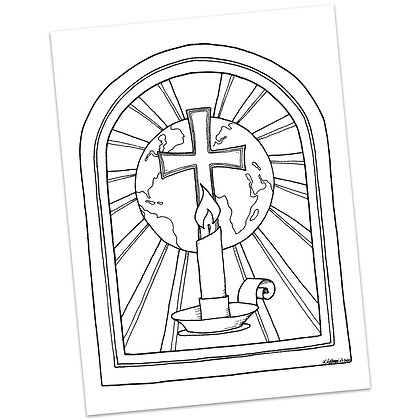 Advent Candle (with Stained Glass, World, Cross) by Katie  Helmreich