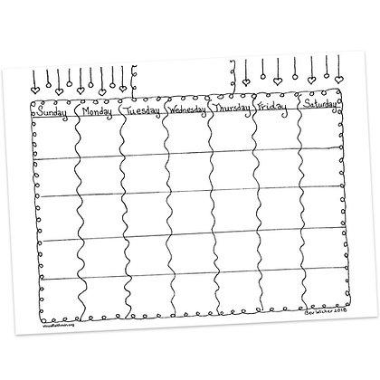 Blank Calendar Template by Bev Wicher