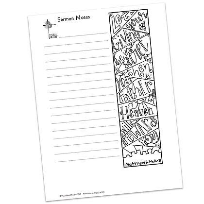 Sermon Notes HS - Matthew 6:1-6, 16-21