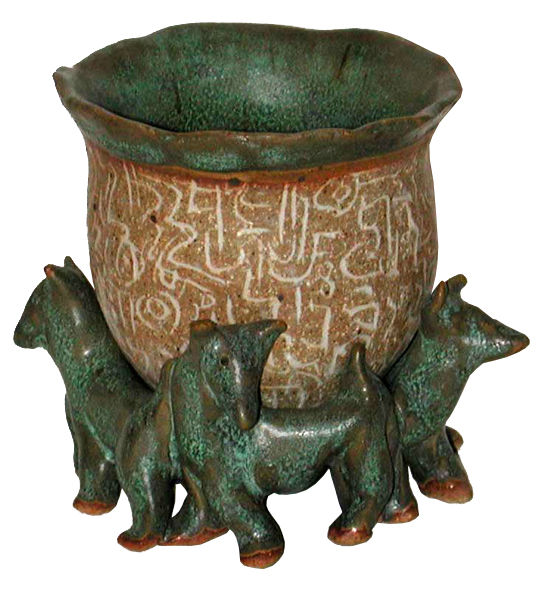 Ritual Cup with Dogs - artwork by Judith Ann Cooper